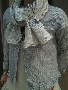 Panels of vintage lace sewn into scarf.
