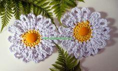 flores margaridas em croche 082 com Edinir-Croche na coleção aprendi e ensinei