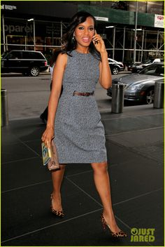 Kerry Washington in Micheal Kors dress, Christian Louboutin shoes - 'The View' in New York City.  (October 3, 2013)