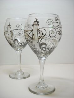 Lighthouse Goblet Hand Painted Pewter by SkySpiritStudios on Etsy