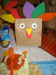 turkey bag filled with popcorn for kid table