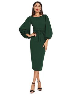 cb294ae111d Women s Lantern Sleeve Tie Waist Midi Office Dress Green. The belt is a  separate piece