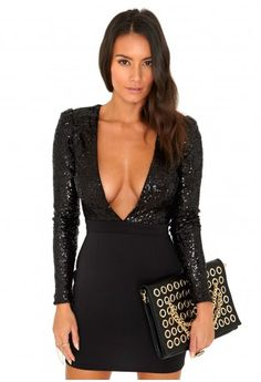 Missguided - Pippa Sequin Top V-Neck Mini Dress In Black