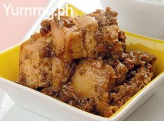 Pork belly cooked in shrimp paste and coconut milk