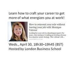 50% off #Career crafting #webinar registration with this link: https://reinventyourjob.eventbrite.co.uk/?access=mv14