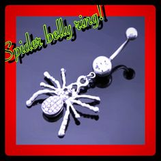 NWT spider belly ring! This spider belly ring is 100 p brand new, it is a dangling belly ring, stainless steal and awesome looking! Anymore questions please ask thank you! Please look at my current sale for the week, Thanks for stopping my and happy poshing! Jewelry Rings