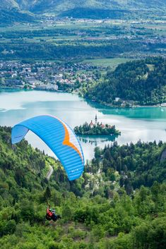 A mesmerizing area to fly above. If you want to collect the best memories (at Lake Bled area) from the sky, this is the way to do it 😜 Julian Alps, Lake Bled, What Activities, Ice Climbing, Paragliding, Amazing Adventures, Stunning View, Best Memories, Slovenia
