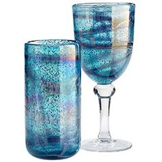Peacock Swirl Drinkware  Gorgeous, gotta get these goblets! What a deal at $5.95!