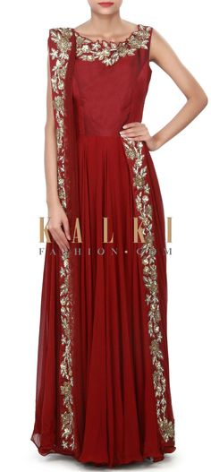 Buy Online from the link below. We ship worldwide (Free Shipping over US$100) Price-$529 Click Anywhere to Tag http://www.kalkifashion.com/maroon-anarkali-suit-adorn-in-kardana-along-with-attach-dupatta-only-on-kalki.html