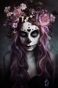 Sugar Skull Mädchen, Sugar Skull Make Up, Looks Halloween, Halloween Costumes, Halloween Face Makeup, Halloween Halloween, Vintage Halloween, Halloween Make Up Ideas, Mexican Halloween
