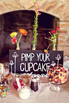 """Pimp Your Cupcake"" Table. Maybe have an all white icing cupcake stand instead of cake and let everyone decorate theirs."