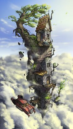 skyhouse by Mr--Einikis on DeviantArt Fantasy Art Landscapes, Fantasy Landscape, Fantasy House, Fantasy World, Free Android Wallpaper, Nausicaa, Fantasy Places, Environment Concept Art, Environmental Art