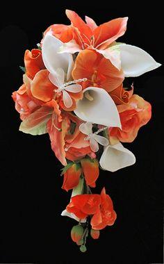 Orange Lilies, Orchids and Callas Cascading Bouquet for shape for sure Cascading Wedding Bouquets, Cascade Bouquet, Fall Wedding Bouquets, Bride Bouquets, Bridal Flowers, Purple Bouquets, Beautiful Flower Arrangements, Beautiful Flowers, White Orchid Bouquet