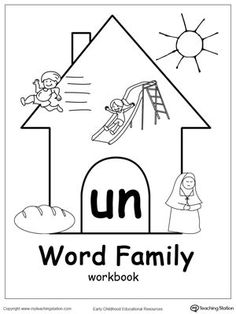 **FREE** UN Word Family Workbook for Kindergarten Worksheet.Topics: Word Families, and Reading. Word Family Activities, Cvc Word Families, Family Games, English Worksheets For Kindergarten, Kindergarten Anchor Charts, Word Family List, Family Worksheet, Rhyming Words, Printable Worksheets
