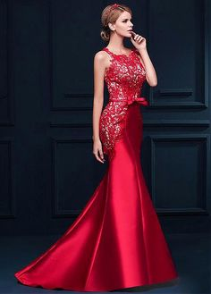 Marvelous Satin & Lace Bateau Neckline Mermaid Evening Dresses with Beadings