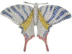 Diamond and Sapphire Butterfly Brooch in 18K