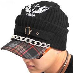 Black Knit Cotton Wool Gothic Punk Rock Base Cap Hat SKU-71108058