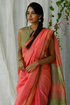 Urban Drape Pink Jasmin Saree - Shipping from October Satin Saree, Cotton Saree, Dress Indian Style, Indian Outfits, Ethnic Fashion, Indian Fashion, Latest Blouse Patterns, Indian Silk Sarees, Indian Blouse