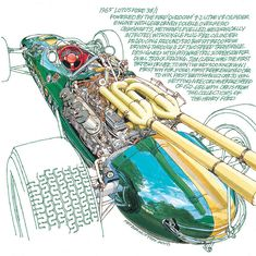 1965 Lotus Ford 38/1- Freehand Drawing by Peter Hutton :: Illustrator