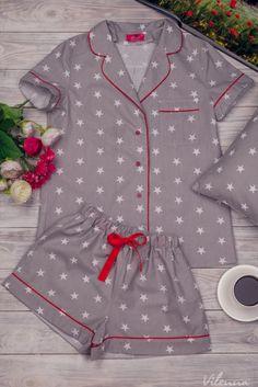 Пижама женская с белыми звездочками • цвет: серый • интернет магазин • vilenna.ua Pajama Outfits, Kids Outfits, Cute Outfits, Cute Sleepwear, Lingerie Sleepwear, Nightwear, Cute Pajamas, Pajamas Women, Handmade Clothes