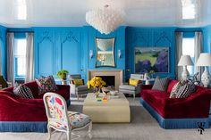 Bright blue living room with boiserie wall-panelling and symmetrical sofas by Summer Thornton Design, Inc. Interior Design Process, Colorful Interior Design, Interior Design Advice, Luxury Interior Design, Colorful Interiors, Design Projects, Blue Interiors, Interior Colors, Modern Interior