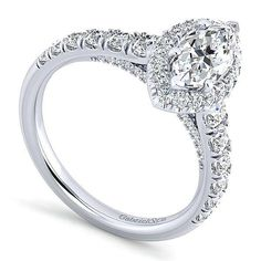 14K White Gold 1.96cttw Marquise Shaped Halo Diamond Engagement Ring