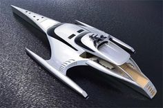 """Superyacht Adastra, 42.5m Power Trimaran. Described by Boat International as """"one of the world's most amazing super yachts, that could spell the future for efficient long range cruising"""", the striking 42.5m Trimaran Adastra is currently under construction at McConaghy Boats in China. This one-off trimaran designed by John Shuttleworth is being built for Hong Kong clients Anto and Elaine Marden with interstellar voyages in mind. 2AdastraTopZoom 468x301 Superyacht Adastra a 42.5m Power Tr..."""