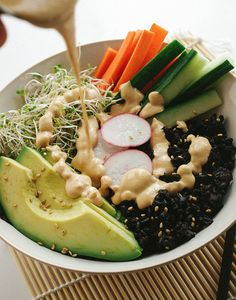 Black Rice Sushi Bowl and Dynamite Sauce | 25 Meat-Free Clean Eating Recipes That Are Actually Delicious
