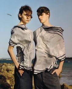 17. Black and white striped flap-collar silk shirt. // 18. Black and white striped flap-collar silk shirt.