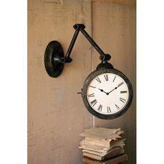 Dark Brown Metal Wall Clock Kalalou Mounted Clocks Home Decor
