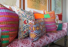 a bench topped with lovely pillows in john robshaw's NYC studio & showroom