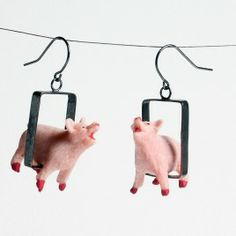 Lora-Kristin-jewelry-mixed-media-pig-in-rectangle-earrings