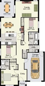 Floor Plans House A Floorplan To Suit Narrow Block Of Land Primo 162 By Hotondo Homes