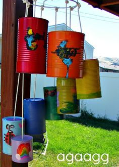 Roadkill rescue - diy upcycling.  Love using the lampshade frame for base of windchime! -- J