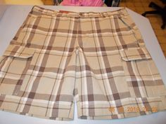 Men's Plaid Cargo Shorts, Size 44 New #Merona #Cargo