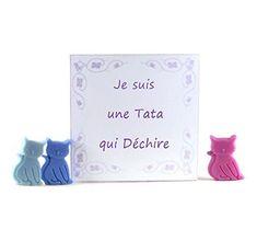 Coffret Pastilles de Cire Parfumée Je suis une Tata qui déchire 15 Petits chats Fondants Parfumés cire végétale Cadeaux Merci Tata Cadeaux de Noël Cadeaux Anniversaire Cadeaux Personnalisés
