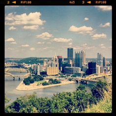 Beautiful day in Pittsburgh.  View from Mt. Washington.  Taken with Instagram on my Droid 3.  © Laura Kahl