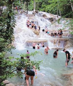 Dunns River Falls Jamaica - on my original travel bucket list started whilst at school. V touristy but so much fun!