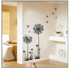 flower art. dandelion design in wind.