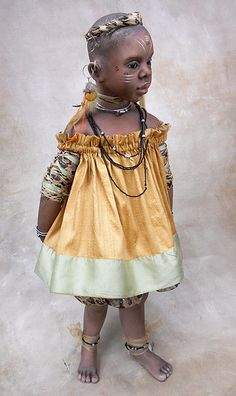 """Tiger,"" African Girl  Doll by Susan Krey"