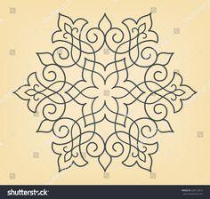 Circle ornamental geometric pattern on yellow background. Mandala Art, Mandala Drawing, Rangoli Borders, Rangoli Border Designs, Motifs Islamiques, Embroidery Patterns, Quilt Patterns, Yellow Background, Dot Painting