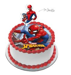 Spiderman Cake with Spiderman Candle Spiderman Cake Topper, Spiderman Birthday Cake, 6th Birthday Cakes, Novelty Birthday Cakes, Batman Cakes, Spiderman Pasta, Unicorn Cake Design, 4 Year Old Boy Birthday, Cake Designs For Kids