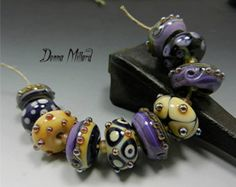 SRA HANDMADE LAMPWORK Glass Bead Set Donna Millard organic silver purple black ivory blue green pink topaz gold tribal ethnic belly dance