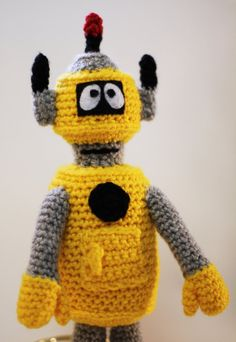 Made to OrderCute Yellow Robot Crochet Toy by CurlyTopCorner, $27.99
