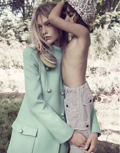 Mikael Jansson shoots Sasha Pivovarova and pint sized fashionista Ava for a bohemian story filled with hippie-chic threads chosen by Anastasia Barbieri. Vogue France 2011