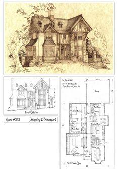 house333 front elevation and plan by built4everdeviantartcom on deviantart fairytale cottagestorybook - Vintage Storybook House Plans