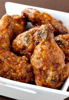 These Whiskey Wings are crunchy-batter coated and tossed in my famous whiskey glaze!