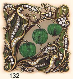 Art Nouveau Brooch, Plique-à-jour enamel, carved emerald bead, diamond and  carved gold brooch. Marcus & Co