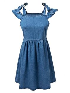 Square Neck Ruffle Sleeve Denim Dress #womensfashion #pinterestfashion #buy #fun#fashion