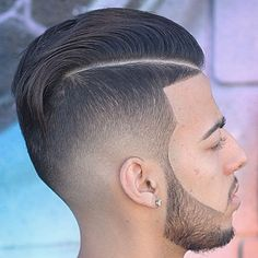 High Tape Up Fade with Hard Part Comb Over
